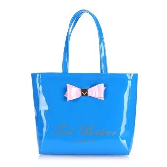 Ted Baker Fashion Waterproof Jelly Pack Large Capacity Shopping Bag Handbag Tote Bag-Blue