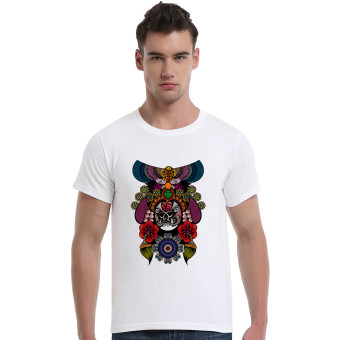 The Beijing Opera People Face Cotton Soft Men Short T-Shirt (White)