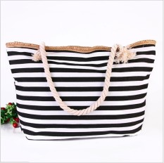The New Trend Of Korean Striped Canvas Beach Bag Bag Shoulder Bag Handbag Casual Cotton Rope (Black)