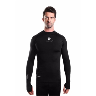 Tiento Baselayer Manset Rashguard Compression Baju Kaos KetatOlahraga Bola Renang Running Gym Fitness Yoga Long Sleeve BlackThumbhole Original