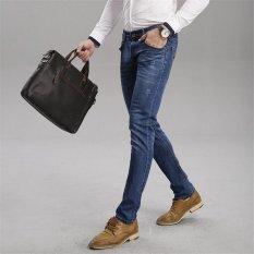 TongLuRen LNZK0004-A Jeans Fashion Men Straight Jeans Slim Stretch Denim Business Trousers (Blue) (Intl)