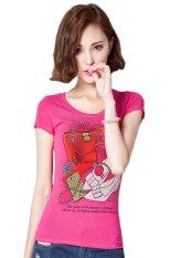 TongLuRen NSTX0041-D T-Shirts Woman Casual Fashion Short Printing Handbag Hot Drilling (Pink) (Intl)
