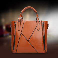 Top-Handle Bags Women Leather Handbags Bag Top Handle Bolsa Feminina Designer Handbags High Quality Sac A Main (Brown)