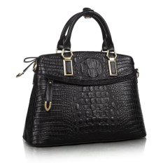 Top Quality Women's Cow Leather Hand Bags Luxury Genuine Leather Crocodile Pattern Shoulder Bag Cross Body Bag Black