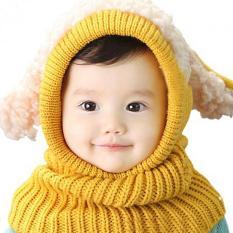 Topi Anak Bayi Cowok Cewek Earflap Berkerudung Syal Wol Rajut Hangat Musim Dingin Topi Beanie Kuning