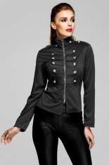 Toprank Autumn Women's Slim Zipper Jacket Parka Winter Jacket Women Coat Casual Plus Size (Black)