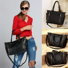 Toprank Black Retro Women Office Lady Quilted Shoulder Tote Bag Handbag Fashion - Intl
