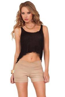 Toprank Ladies Women's Asymmetric Casual Gym Tank Crop Top ( Black )