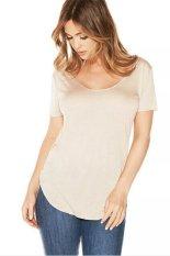Toprank Lady Summer Women Casual T-Shirt Short Sleeve Irregular Plus Size T-Shirt