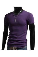 Toprank Men Clothes T Shirt High-Elastic Cotton Men'S Short Sleeve V Neck Tight Shirt Male T-Shirt B1.3324 (Purple)
