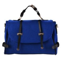 Toprank New Fashion Women's Wool & Faux Leather Tote Shoulder Bag Messenger Cross Body Handbag (Blue) - Intl