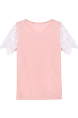 Toprank T Shirt Women Short Sleeve Sexy Lace Crochet T-Shirt Embroidery Knitted Loose Tops Plus Size (Pink) (Intl)