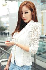 Toprank Women Lace Long Sleeve Coat Short Jacket Suit Tops (White)