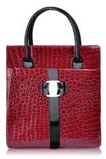 Toprank Women Leather Handbag Luxury OL Lady Zipper Tote Shoulder Bag And (Red) - Intl