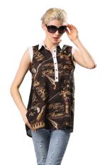 Toprank Women OL Lapel Collar Tops Casual Chiffon Sleeveless Shirt Printed Blouse (Brown)