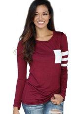 Toprank Women T-Shirt Long Sleeve T Shirt Women Tops Slim Casual Top Shirts Women Clothing Plus Size (Red)