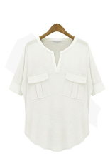 Toprank Women's Fashion Summer Short-Sleeve V-Neck 100% Cotton Modal T-Shirt Basic T Shirt Summer Shirt (White)