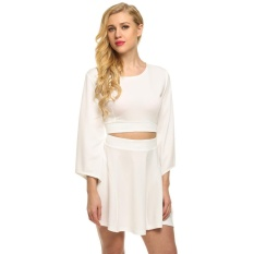 topsellers365 Stylish for ACEVOG Women Casual Sexy O-Neck Flare Sleeve Fake 2-piece Hollow Waistband Mini A-line Dress ( White ) - intl
