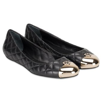 c450eec6f53 Harga Tory Burch Kaitlin Quilted Leather Flat Black Gold Size 6 ...