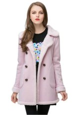 TOSHOON RED Womens Autumn Long Sleeve Wool Collar Fleece Double-Breasted Coat Jacket (Pink)