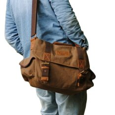 TP Coffee Men's Vintage Canvas Leather School Military Shoulder Bagmessenger Bag Coffee Color - Intl