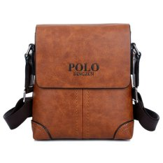 TP Men Leather Crossbody Bag Shoulder Bag Messengerbagportable Briefcase Business Casual Tote Bag (Khaki) - Intl