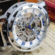 Transparent Skeleton Mechanical Men Black Leather Watch Blue