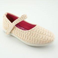 TrendiShoes Sepatu Anak Perempuan Flat Kulit Motif - Beige