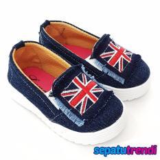 TrendiShoes Sepatu Anak Perempuan Slip On Bendera ING - Biru Tua