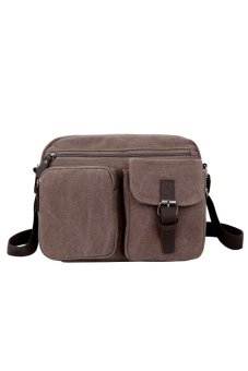 Trendy Stylish Canvas Zipper Pockets Leisure Travel Messenger Bags (Coffee)