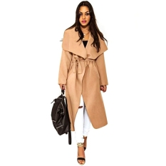 Turn Down Collar Long Sleeve Lace Up Women's Wollen Coat S Camel (Intl)