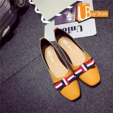Ubuy Kantor Wanita Korea Gaya Prancis Fashion Menunjuk Sepatu bertumit datar Toe Suede Kulit Formal Lady
