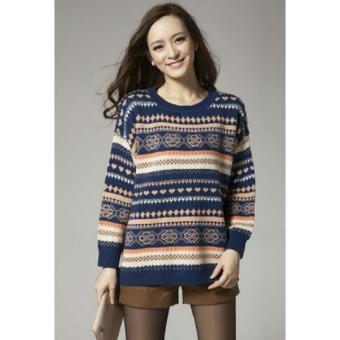 LOOESN Korea Fashion Style perempuan lengan panjang selendang sweater wanita jas baru sweater Biru tua.