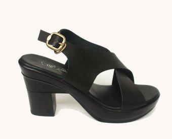 Ully Vega Sling Back Heels Sandals - Black