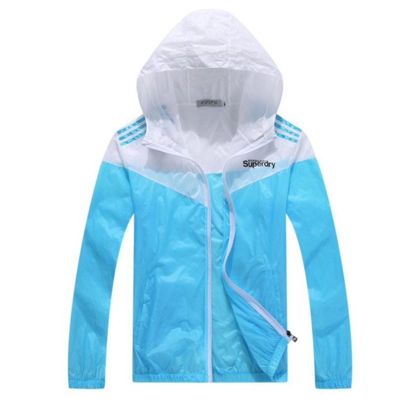 Ultra-light Ultra-thin Waterproof Raincoat Without Pressure Breathable Outdoor Riding Windbreaker Jacket LAKE BLUE - intl