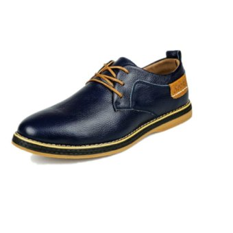 UNC 2016 New Style Spring Tide Men's Leather Shoes Cow Leather Male British Style Business Casual Shoes -Blue