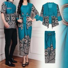 UNICELLSHOP 3 Batik Pasangan Gilang 3in1   Batik Couple   Kemeja Batik Maulana   Gamis Couple Best Seller [Tosca]