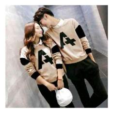 UC Kaos Couple Best seller Letter A / Kaos Oblong  / Sweater Couple CP A/ Pakaian Kembar / Kaos Pria Wanita 2L - Mocca