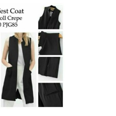Unicellshop Long Vest Coat / Cardingan / Rompi Warnita / Carding Girl / Carding Bagus NR - Hitam