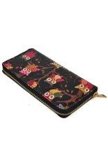 Unique Design Owl Printing Women Wallet Zipper Handbag Lady Clutch Bag Black