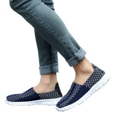 Unisex Fashion Casual Lovers Breathable Sneaker Shoes Woven Leisure Shoes For Running (Dark Blue, 38)