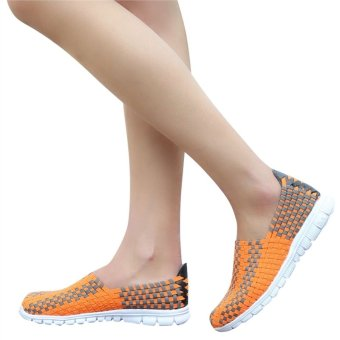 Unisex Fashion Casual Lovers Breathable Sneaker Shoes Woven Leisure Shoes For Running (Orange, 36)