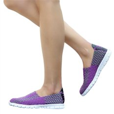 Unisex Fashion Casual Lovers Breathable Sneaker Shoes Woven Leisure Shoes For Running (Purple, 36)