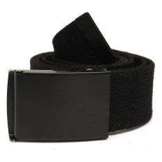 Unisex Plain Webbing Men Women Waist Waistband Casual Canvas Strap Belt Buckle Black - Intl