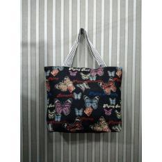 universal tas fashion wanita tote bag canvas-motif butterfly hitam