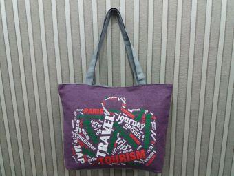 Universal Tas Fashion Wanita Tote Bag Canvas Motif Tulisan Traveling Ungu .