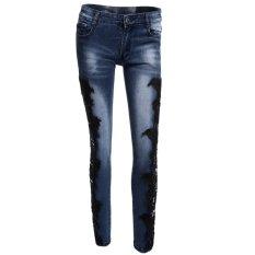 Vanker Sexy Fashion Women Lace Crochet Hollow Slim Fit Skinny Denim Jeans Casual Trousers (Dark Blue)