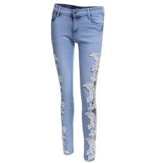 Vanker Sexy Fashion Women Lace Crochet Hollow Slim Fit Skinny Denim Jeans Casual Trousers (Light Blue)