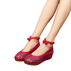 Veowalk Cotton Embroidery Women's Casual Platform Shoes Ankle Strap Ladies 5cm Heel Canvas Wedges Pumps Blue - intl - intl