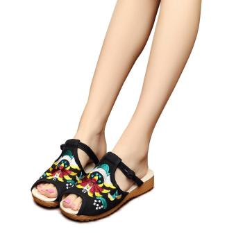 Veowalk Fashion Woman Flat Slippers Casual Sandals Chinese Flower Embroidery Comfortable Soft Slides For Women zapatos